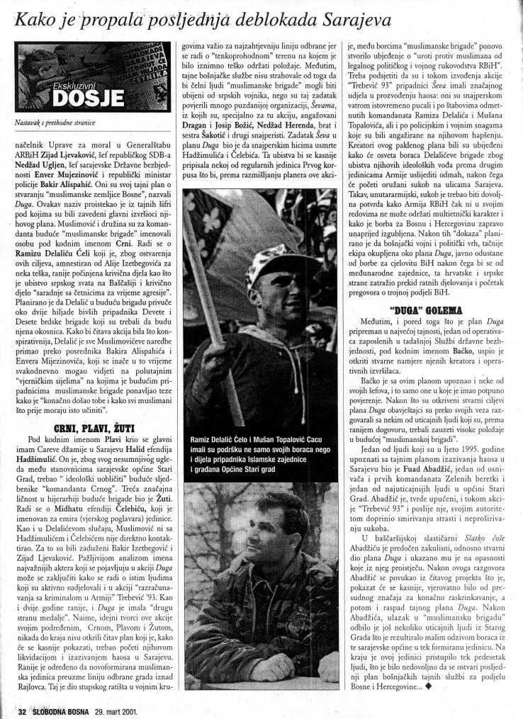 """Faksimil teksta otprije 16 godina u SB u kojem se podsjeća da su i tokom izvođenja akcije """"Trebević '93"""" pripadnici """"Ševa"""" imali značajnog udjela u proizvođenju haosa"""