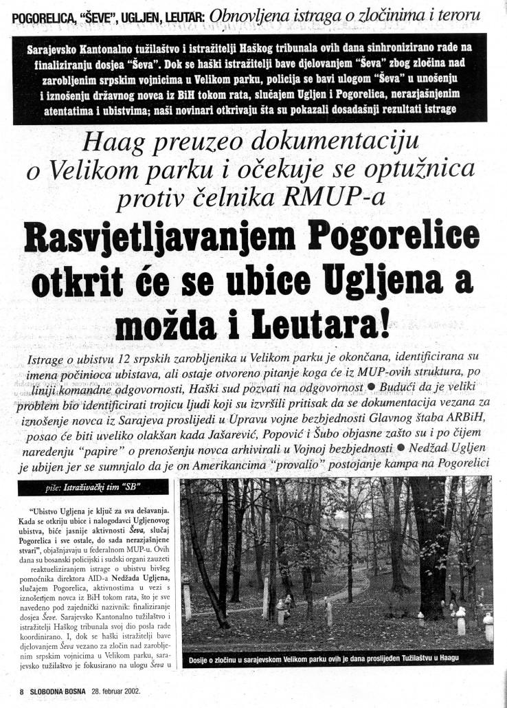 """Faksimil teksta u SB-u od 28. februara 2002. godine o uvezanosti slučajeva """"Pogorelica"""", """"Ševe"""", """"Ugljen"""", """"Leutar"""""""