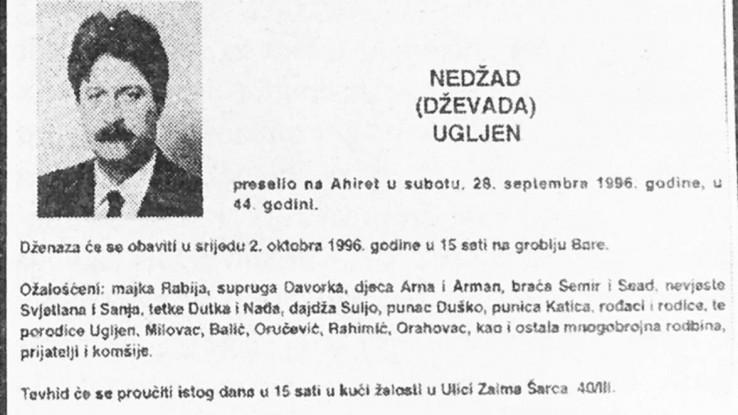 Čitulja koju je porodica objavila nakon ubistva Ugljena 28. septembra 1996. godine