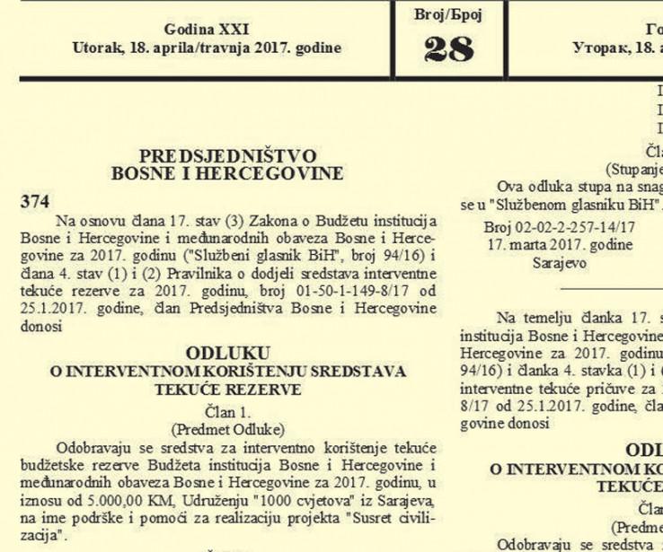 """Faksimil odluke kojom Izetbegović uplaćuje 5.000 KM na račun propalog portala """"Slobodna Bosna"""""""