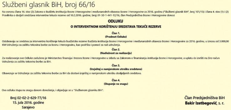 Faksimil odluke kojom Izetbegović odobrava uplatu novca na račun Polutkovog udruženja