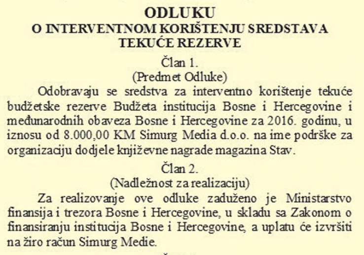 """Faksimil odluke o uplati novca za turski """"Stav"""""""