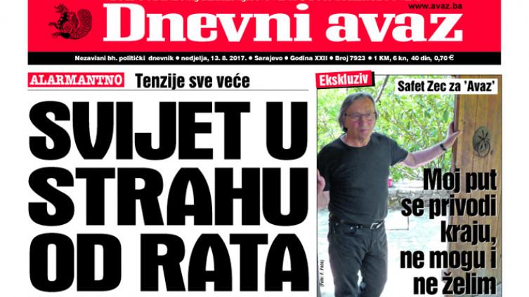 """Naslovnica današnjeg print izdanja """"Dnevnog avaza"""""""