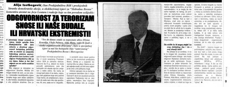 """Faksimil mini intervjua Alije Izetbegovića za """"Slobodnu Bosnu"""" od 20. marta 1999. godine o slučaju """"Leutar"""""""