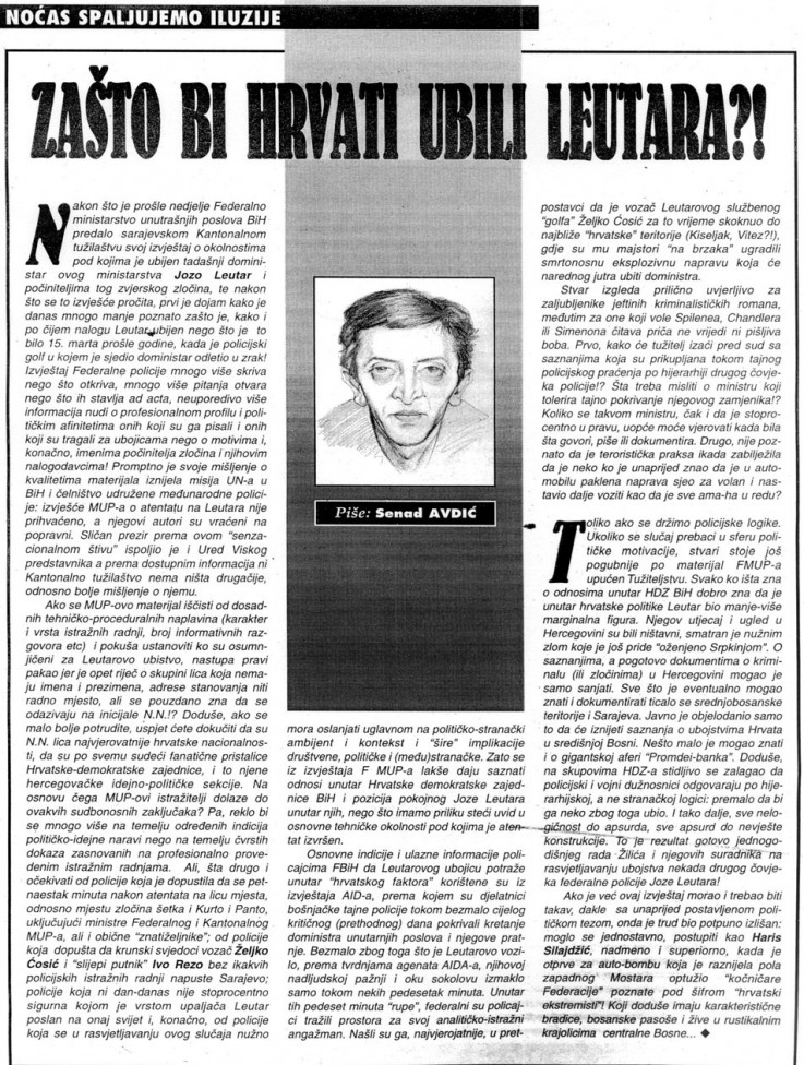 Faksimil Avdićeve kolumne