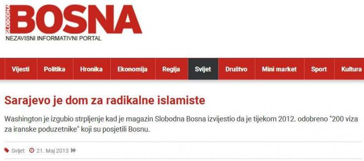 """Faksimil teksta """"Sarajevo je dom za radikalne islamiste"""" koji je """"Slobodna Bosna"""" prenijela 21. maja 2013."""