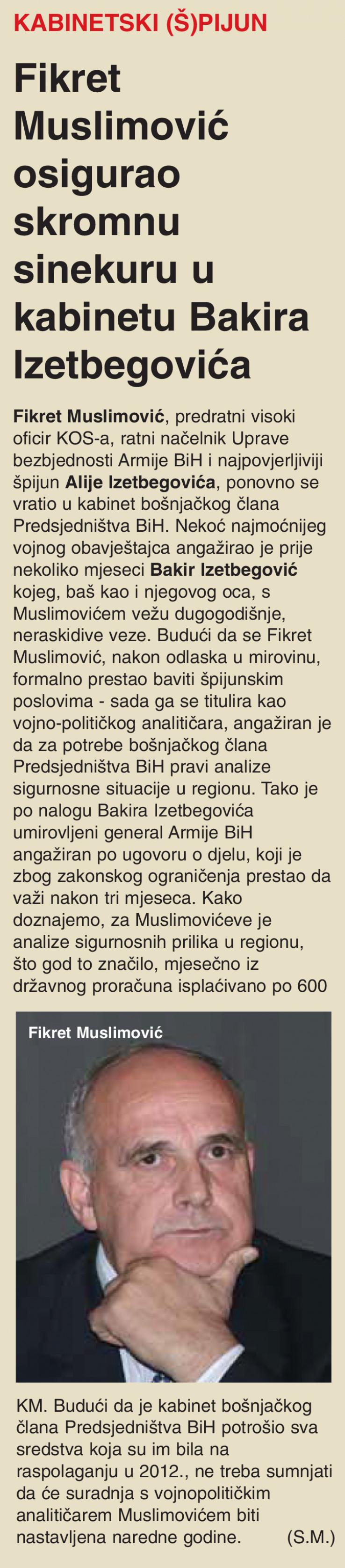 """Faksimil teksta SB-a pod naslovom: """"Kabinetski (š)pijun: Fikret Muslimović osigurao skromnu sinekuru u kabinetu Bakira Izetbegovića"""""""