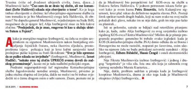 Faksimil Avdićeve kolumne: Kako je, kada, zašto Izetbegović za svog savjetnika izabrao rigidnog KOS-ovca Fikreta Muslimovića