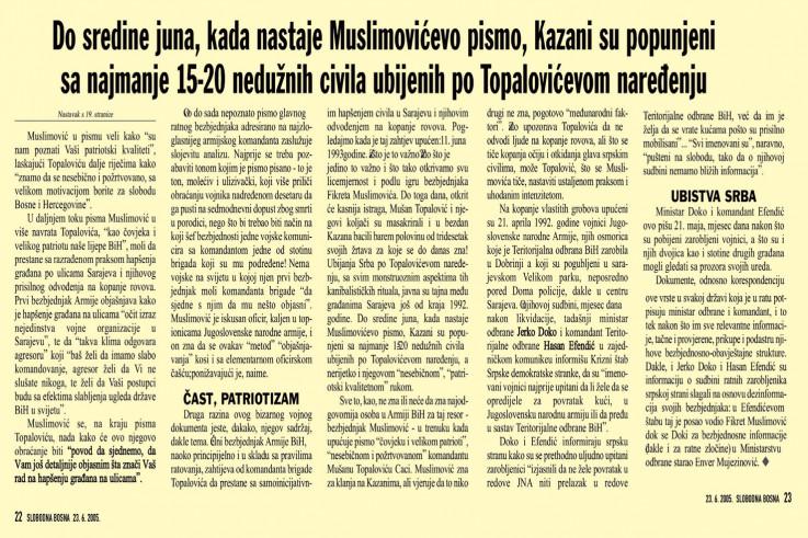 Faksimil teksta u kojem se Avdić posebno pozabavio sadržajem pisma koje je Muslimović poslao 11. juna 1993. godine Topaloviću