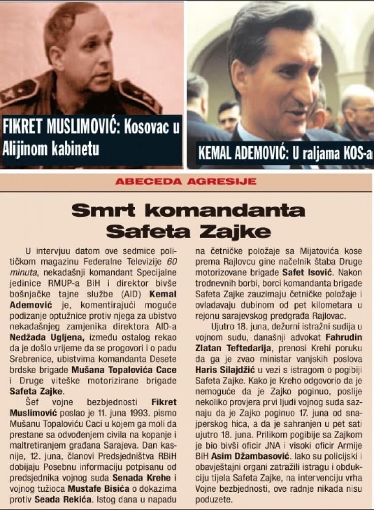 Ademović i Muslimović u tekstu Senada Avdića od 23. juna 2005. godine