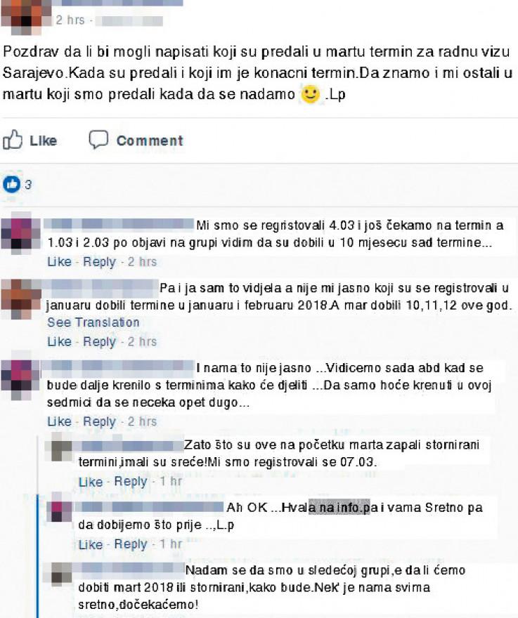 Facebook stranica na kojoj ljudi traže informacije
