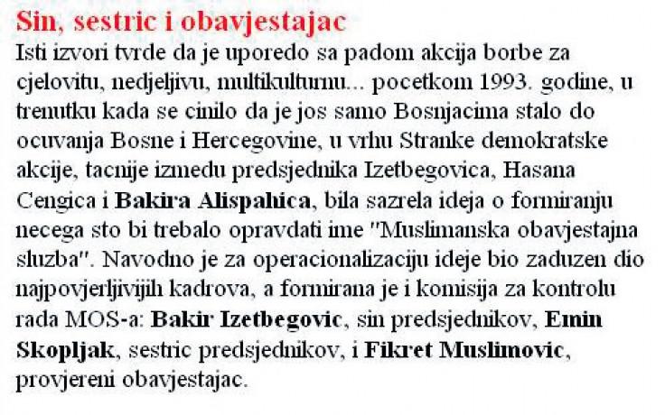 """Faksimil teksta iz """"Dana"""" od 11. maja 1998. godine: Najpovjerljiviji kadrovi Bakir Izetbegović, Emin Skopljak i Fikret Muslimović"""
