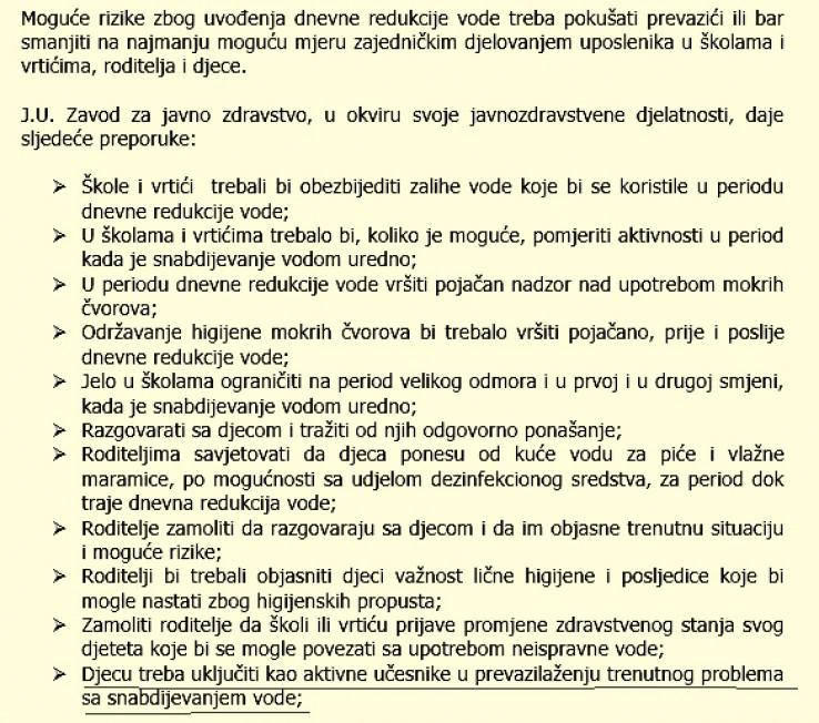 Faksimil preporuka Zavoda za javno zdravstvo