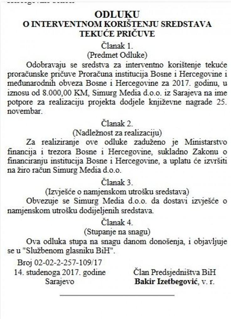 """Faksimil odluke o dodjeli novca objavljen u """"Službenim novinama BiH"""""""