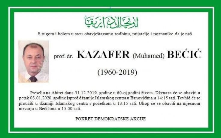 Kazafer Bećić važio za uglednog privrednika