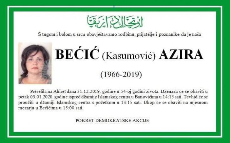 Azira Bećić nedavno izgubila dva brata
