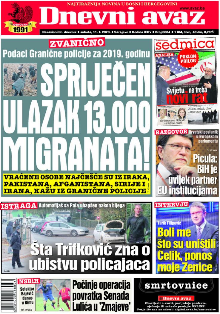 """Naslovnica """"Dnevnog avaza"""" za 11. januar 2020."""