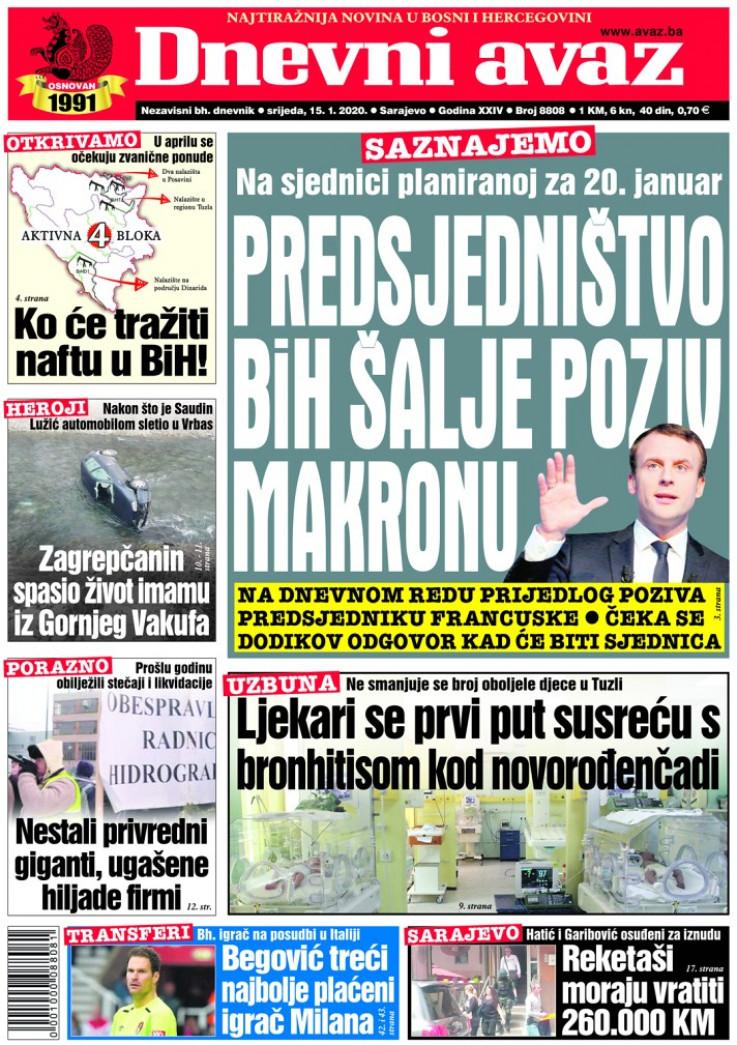 """Naslovnica """"Dnevnog avaza"""" za 15. januar 2020. godine"""