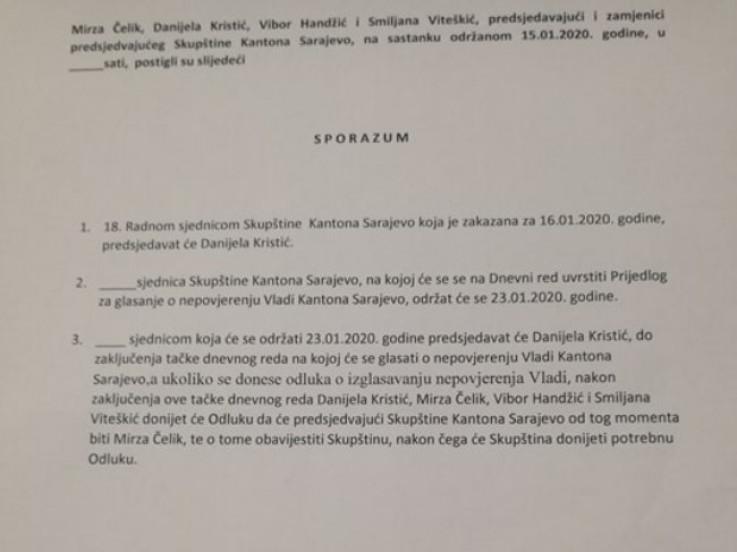 Sporazum koji je ponudila SDA
