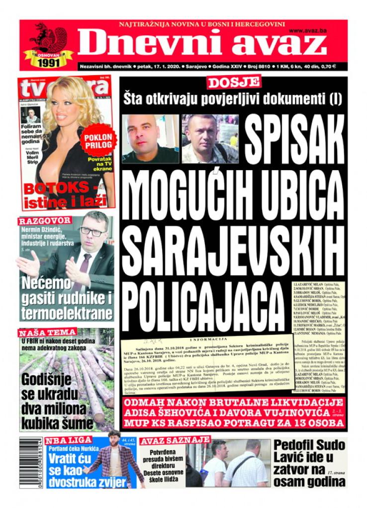 """Naslovnica """"Dnevnog avaza"""" za 17. januar 2020. godine"""