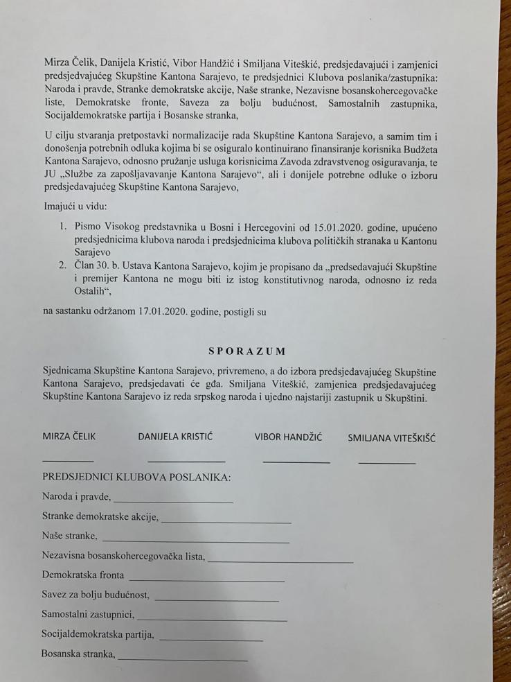 Sporazum koji je ponudila nova većina