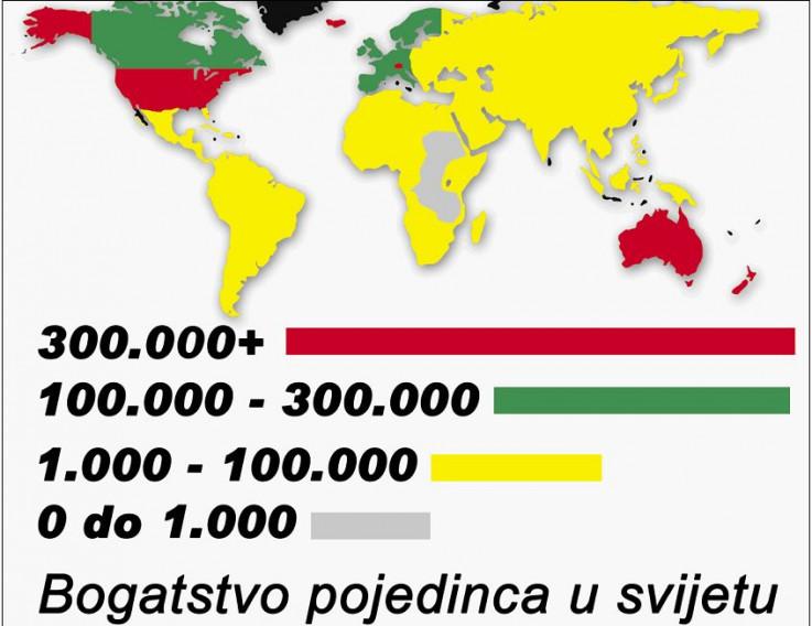 Mapa bogatstva u svijetu
