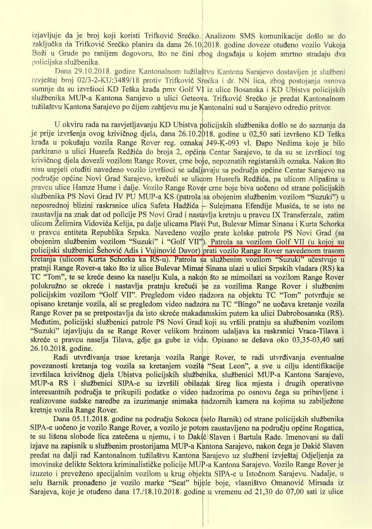 """Faksimil izvještaja koji je u posjedu """"Avaza"""""""