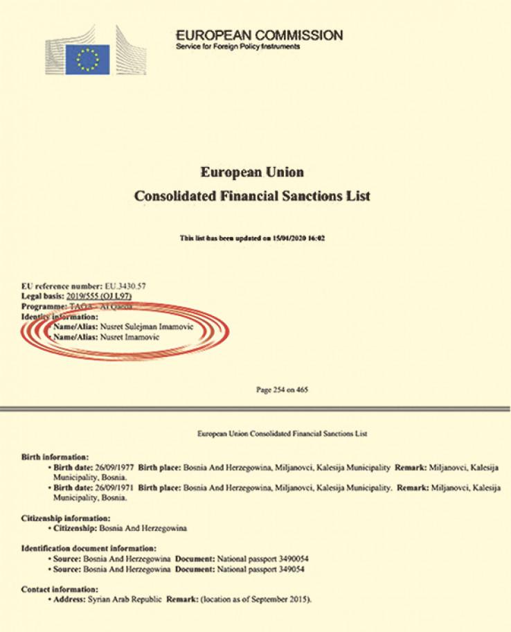 Faksimil liste EU koja je proširena 15. januara