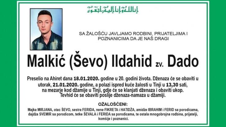 Ildahid Malkić: Smrt u 20. godini