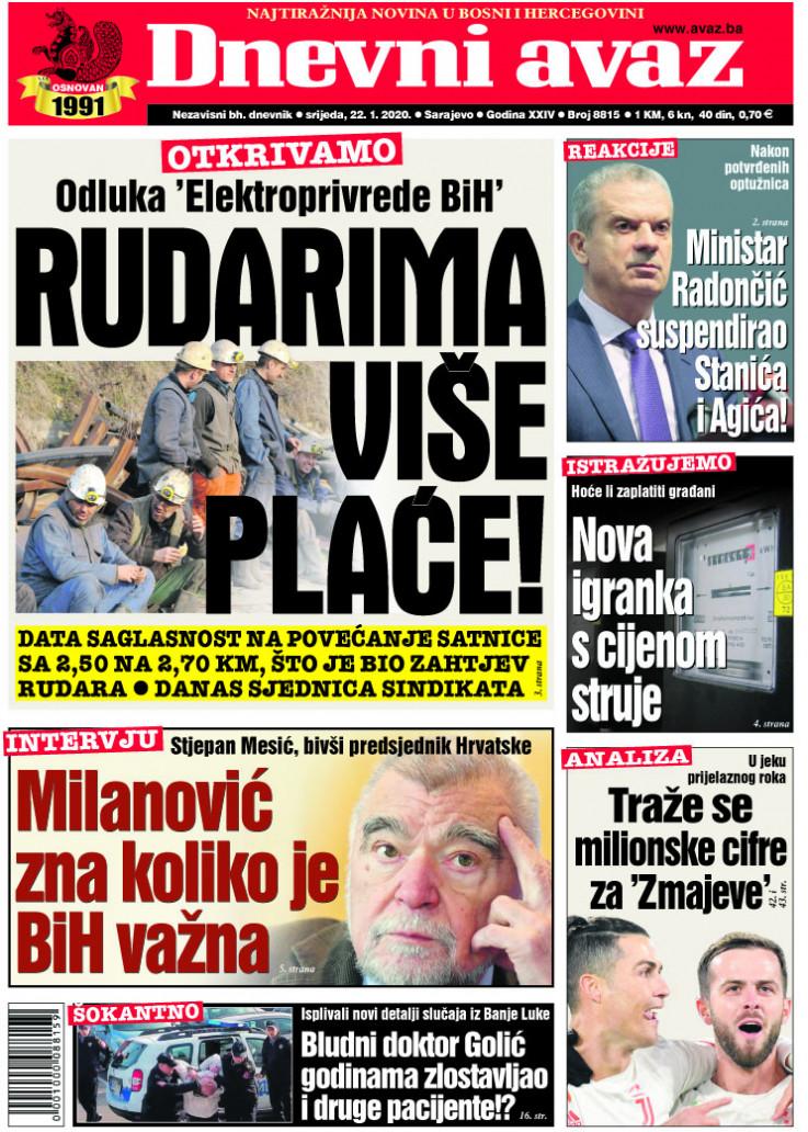 "Naslovnica ""Dnevnog avaza"" za 22.1.2020."