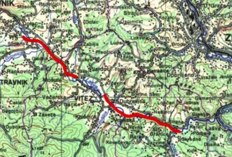 Mapa puta Lašva petlja - Nević Polje