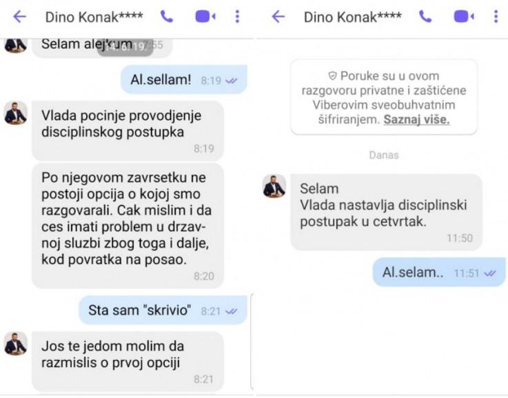Poruke koje je Konaković upućivao Džihiću putem Vibera tražeći od njega da podnese ostavku i prepusti mu Upravu civilne   zaštite KS