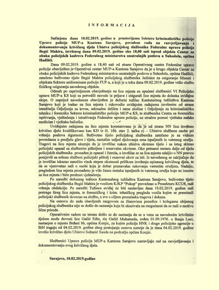 Faksimil izvještaja MUP-a KS o likvidaciji Begića