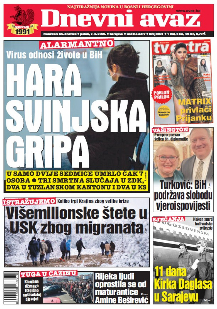 "Naslovnica ""Dnevnog avaza"" za 07.02.2020."