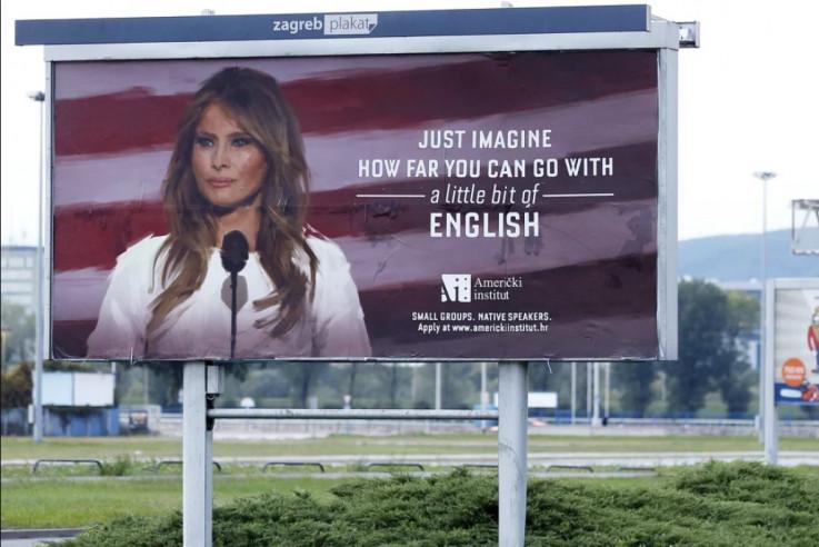 Džambo plakat na kojem se našla Melanija Tramp