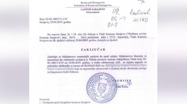 Faksimil zaključka Vlade KS