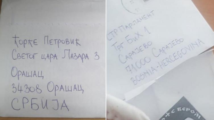 Pismo koje je poslano u novembru 2019.