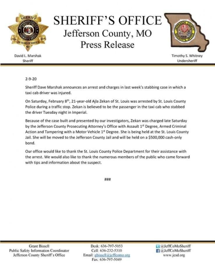 Saopćenje iz ureda šerifa okruga Džeferson
