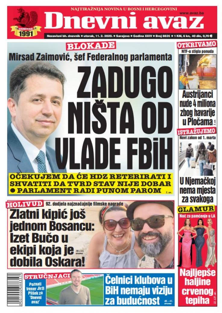 "Naslovna strana ""Dnevnog avaza"""