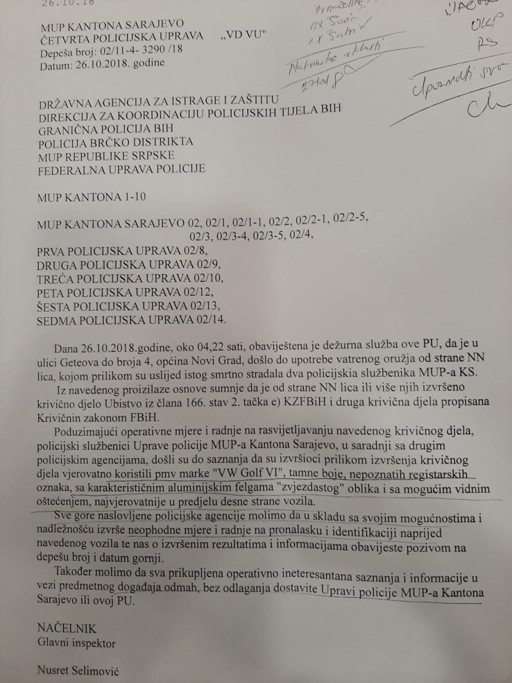 Faksimil depeše koju je izdao Selimović