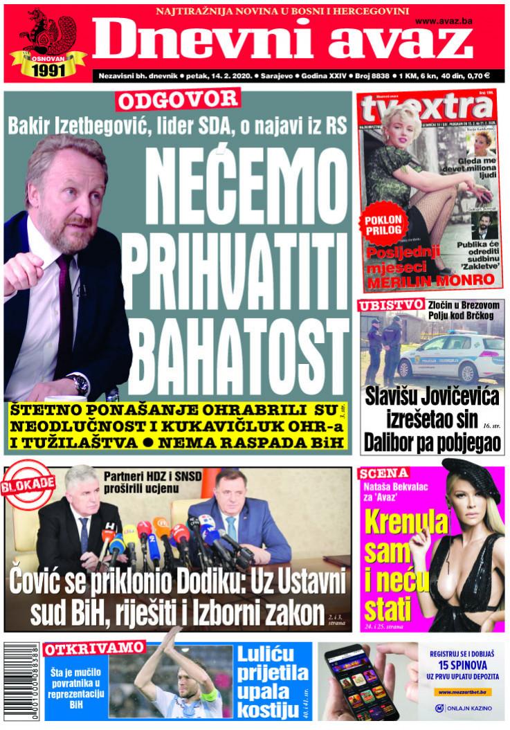 """Naslovnica """"Dnevnog avaza"""" za 14. februar 2020."""