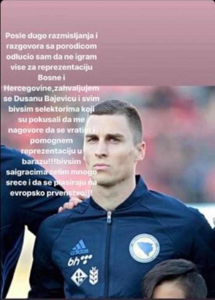 Objava Vranješa na Instagramu