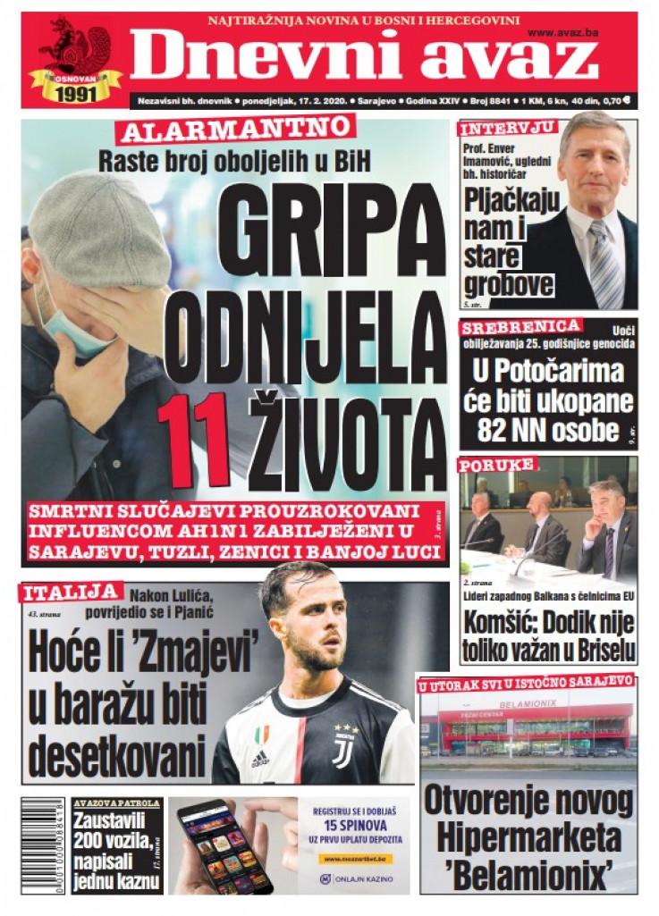 "Naslovna strana ""Dnevnog avaza"" za 17.02.2020."