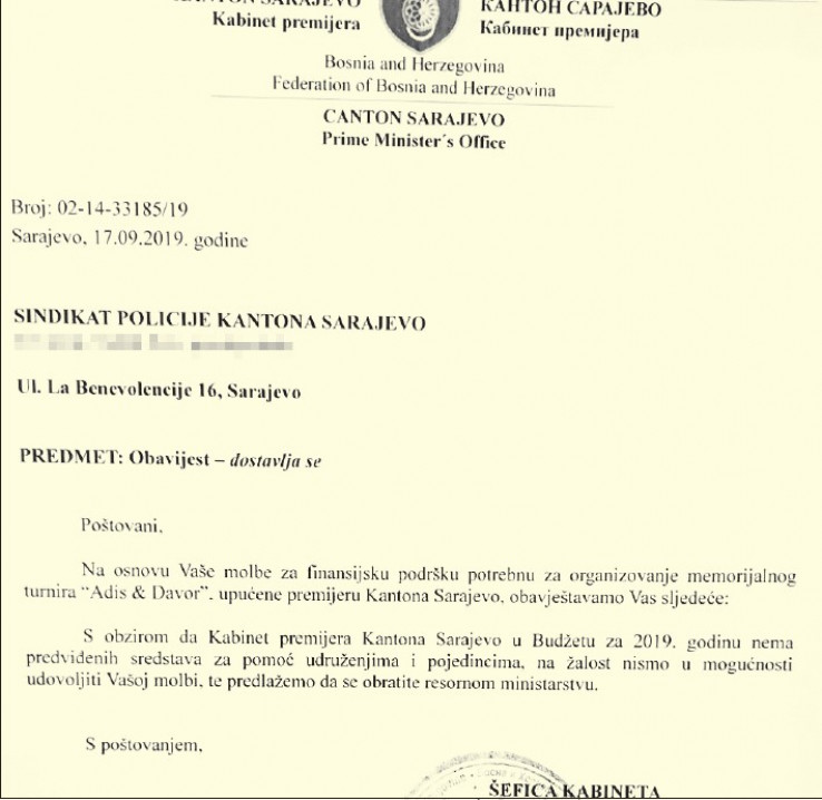 Faksimil odgovora od 17. septembra 2019. godine