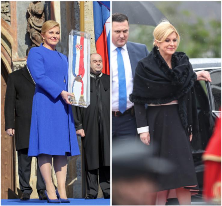 Grabar-Kitarović na inauguraciji 2015. godine i danas na inauguraciji Zorana Milanovića