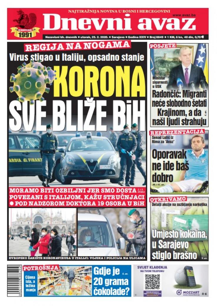 "Naslovna strana današnjeg ""Dnevnog avaza"""