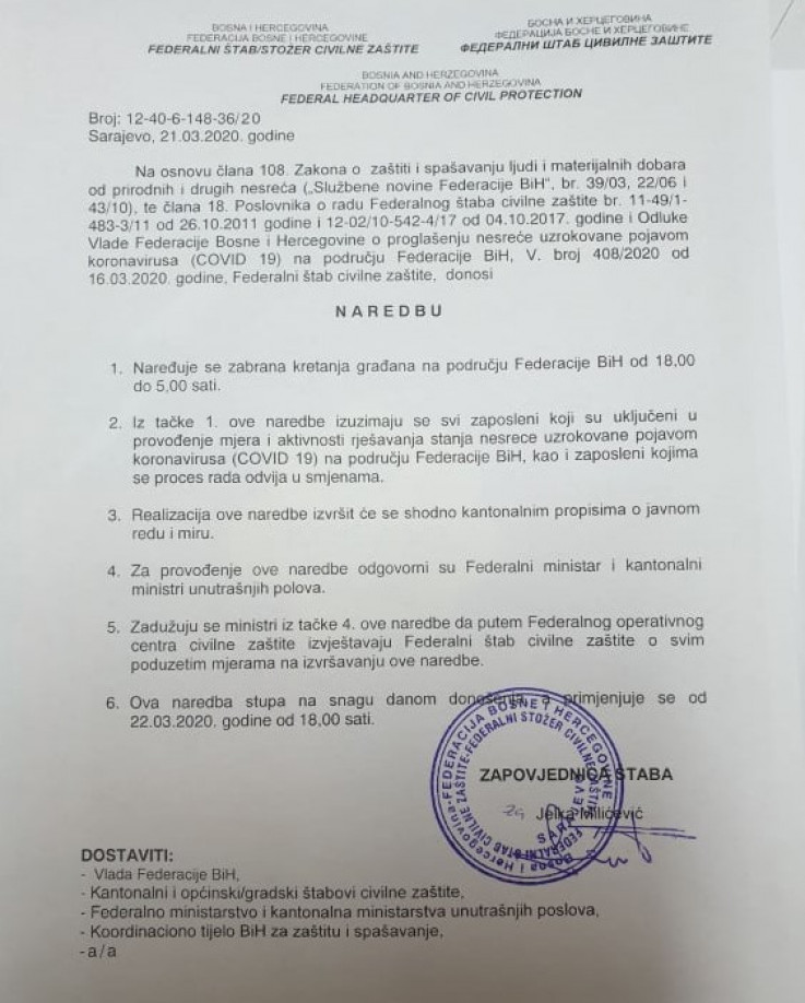 Faksimil naredbe Štaba