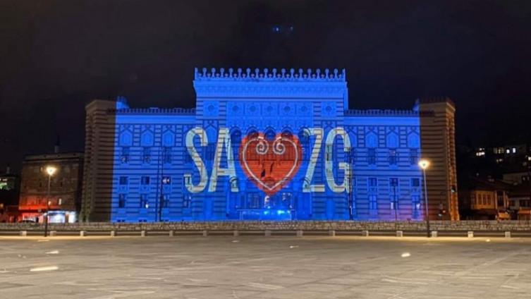 Sarajevska Vijećnica zasjala u znak podrške Zagrebu
