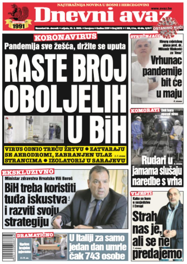 "Naslovna strana ""Dnevnog avaza"" za 25.03.2020."