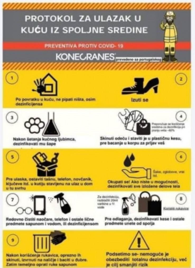 Kad ulazite u kuću, ništa ne dirajte osim sredstava za dezinfekciju